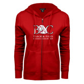 ENZA Ladies Red Fleece Full Zip Hoodie-Track and Field - Cross Country