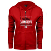 ENZA Ladies Red Fleece Full Zip Hoodie-2017 Appalachian Athletics Conference Womens Basketball Champions Stacked