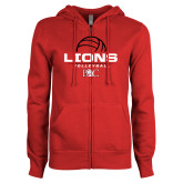 ENZA Ladies Red Fleece Full Zip Hoodie-Lions Volleyball Half Ball
