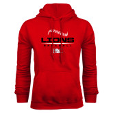 Red Fleece Hoodie-Baseball Seams Stacked Design