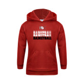 Youth Red Fleece Hoodie-Basketball Repeating Design