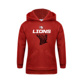 Youth Red Fleece Hoodie-Basketball Net Design