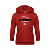 Youth Red Fleece Hoodie-Baseball Seams Stacked Design