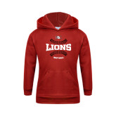 Youth Red Fleece Hoodie-Softball Seams Design