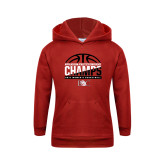 Youth Red Fleece Hoodie-2017 Appalachian Athletics Conference Womens Basketball Champions - Half Ball