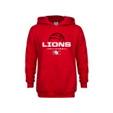 Youth Red Fleece Hoodie-Lions Volleyball Half Ball