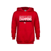 Youth Red Fleece Hoodie-2017 Womens Soccer Champions - Lined Design