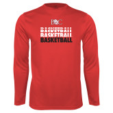 Syntrel Performance Red Longsleeve Shirt-Basketball Repeating Design