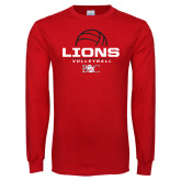 Red Long Sleeve T Shirt-Lions Volleyball Half Ball