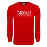 Red Long Sleeve T Shirt-Bryan Athletics Stacked