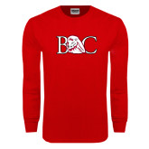 Red Long Sleeve T Shirt-BC w/ Lion Head