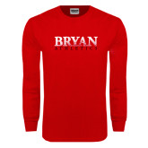 Red Long Sleeve T Shirt-Bryan Athletics Splatter Texture
