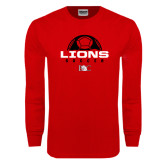Red Long Sleeve T Shirt-Soccer Half Ball Design