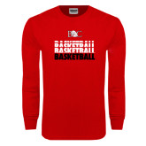 Red Long Sleeve T Shirt-Basketball Repeating Design