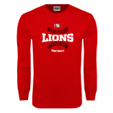 Red Long Sleeve T Shirt-Softball Seams Design