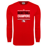 Red Long Sleeve T Shirt-2017 Appalachian Athletics Conference Womens Basketball Champions Stacked