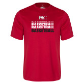 Performance Red Tee-Basketball Repeating Design