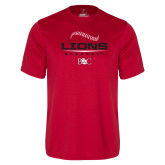 Performance Red Tee-Baseball Seams Stacked Design