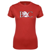 Ladies Syntrel Performance Red Tee-BC w/ Lion Head