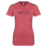 Next Level Ladies SoftStyle Junior Fitted Pink Tee-Bryan Cheer Glitter