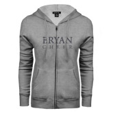 ENZA Ladies Grey Fleece Full Zip Hoodie-Bryan Cheer Glitter