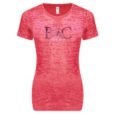 Next Level Ladies Junior Fit Fuchsia Burnout Tee-Primary Mark Foil