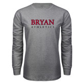 Grey Long Sleeve T Shirt-Bryan Athletics Stacked
