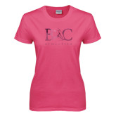 Ladies Fuchsia T Shirt-Primary Mark Foil