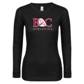 Ladies Black Long Sleeve V Neck Tee-Primary Mark