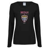 Ladies Black Long Sleeve V Neck Tee-Bryan Fishing Champions