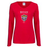 Ladies Red Long Sleeve V Neck Tee-Bryan Fishing Champions