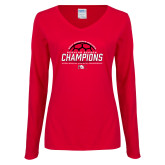 Ladies Red Long Sleeve V Neck Tee-2017 Womens Soccer Champions