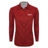 Ladies Red Twill Button Down Long Sleeve-Bryan Athletics Stacked