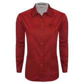 Ladies Red Twill Button Down Long Sleeve-Primary Mark Tone