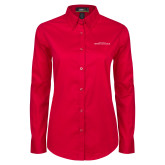Ladies Red Twill Button Down Long Sleeve-Christ Above All