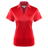 Ladies Red Performance Fine Jacquard Polo-Primary Mark Tone
