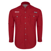 Columbia Bahama II Red Long Sleeve Shirt-Bryan Athletics Stacked