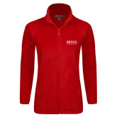 Ladies Fleece Full Zip Red Jacket-Bryan Athletics Stacked