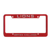 Metal Red License Plate Frame-Lions