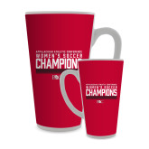 Full Color Latte Mug 17oz-2017 Womens Soccer Champions - Lined Design
