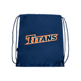 Nylon Navy Drawstring Backpack-Primary Logo