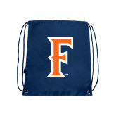 Nylon Navy Drawstring Backpack-F