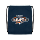 Navy Drawstring Backpack-2017 Big West Back to Back Softball Champions