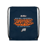 Navy Drawstring Backpack-2018 Mens Basketball Champions - Brush