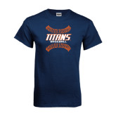 Navy T Shirt-Baseball Sideway Seams