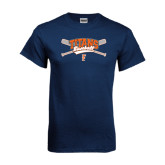 Navy T Shirt-Baseball Crossed Bats
