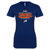 Next Level Ladies SoftStyle Junior Fitted Navy Tee-2018 Mens Basketball Champions - Brush