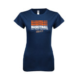 Next Level Ladies SoftStyle Junior Fitted Navy Tee-Basketball Repeating