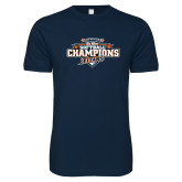 Next Level SoftStyle Navy T Shirt-2017 Big West Back to Back Softball Champions