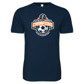 Next Level SoftStyle Navy T Shirt-2017 Big West Mens Soccer Champions